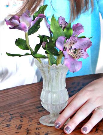 Alstroemeria in a sugar vase