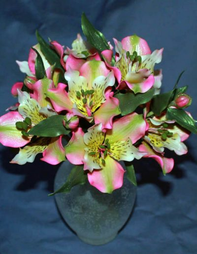 A display of wired sugar Alstroemeria flowers in a sugar vase. Delicate yet pretty. 9/2011