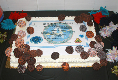 Graduation Diploma Cake with Chocolate Tribbles 2 450px